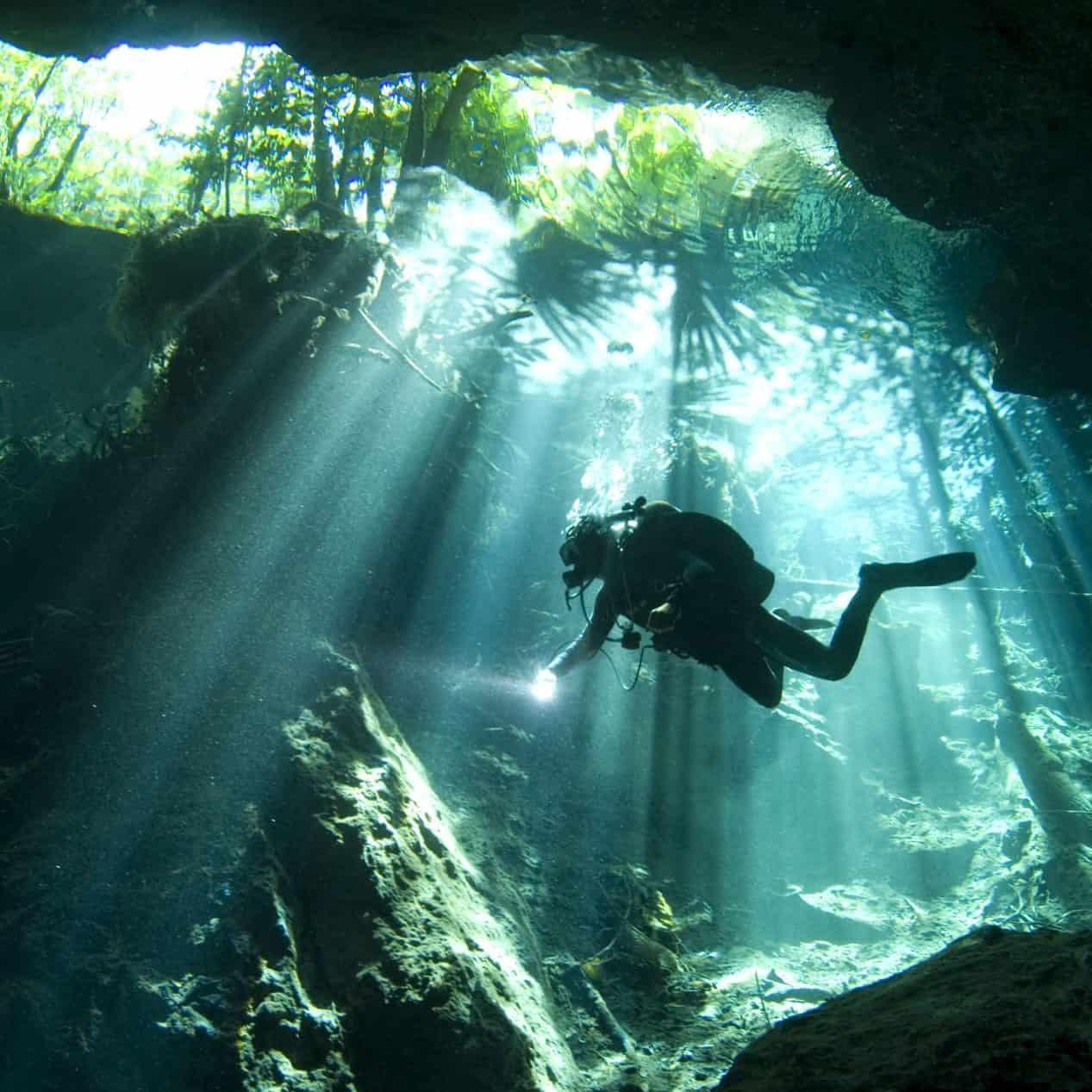 diver in cenote