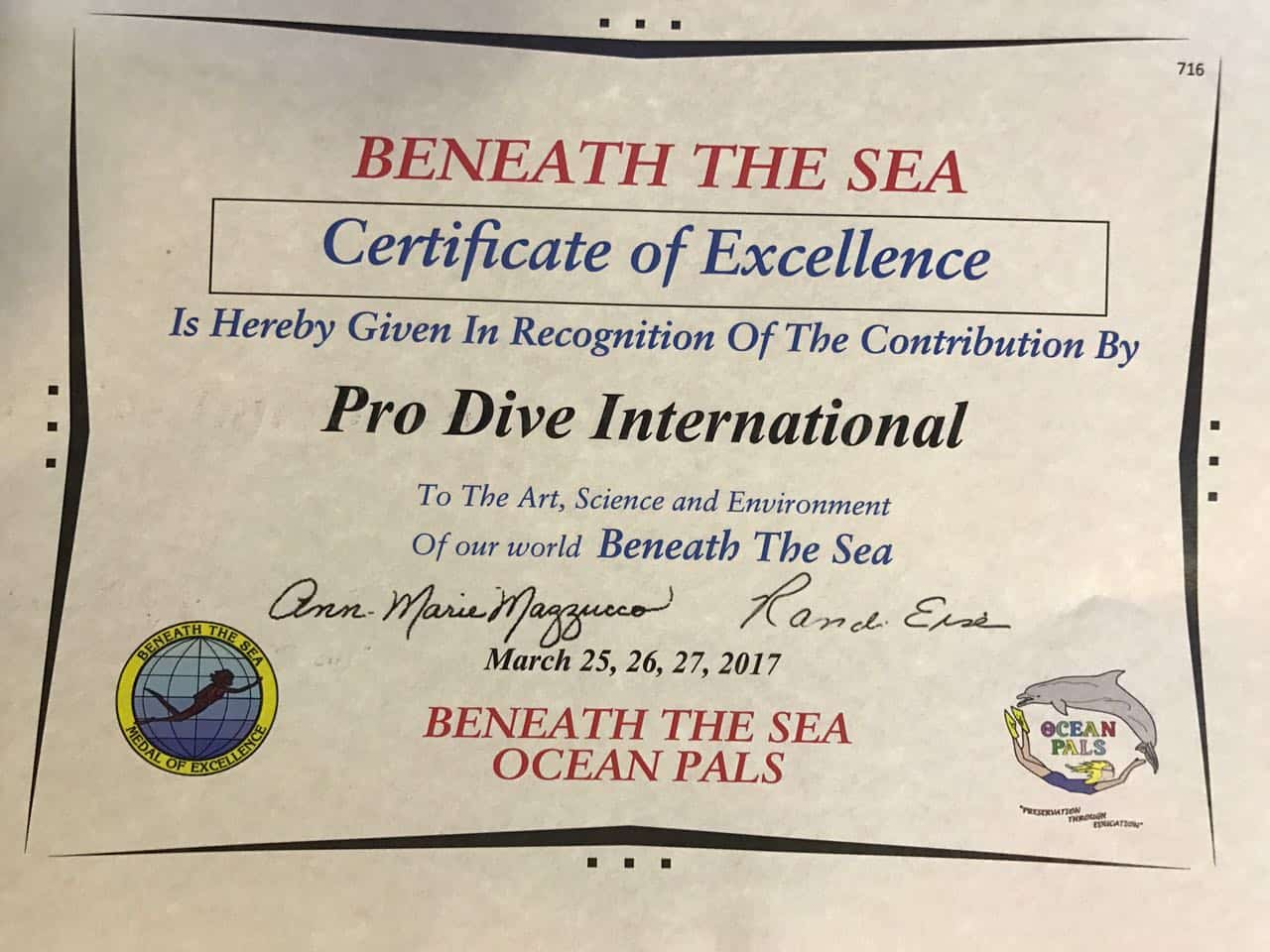 certificate-of-excellence-beneath-the-sea-pro-dive-international-2017